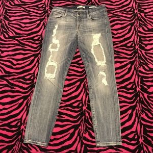 Distressed Guess Power Curvy Mid-rise Jeans Sz 30